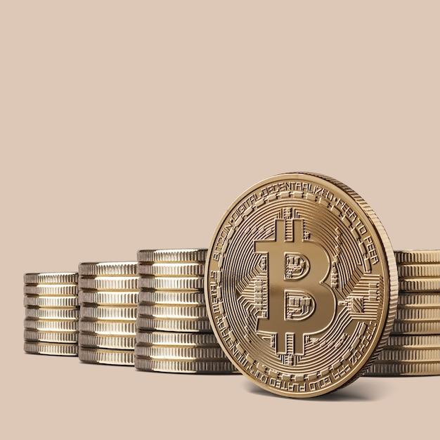 Physische bitcoin-goldmünze in kryptowährung und stapel von bitcoins Premium Fotos