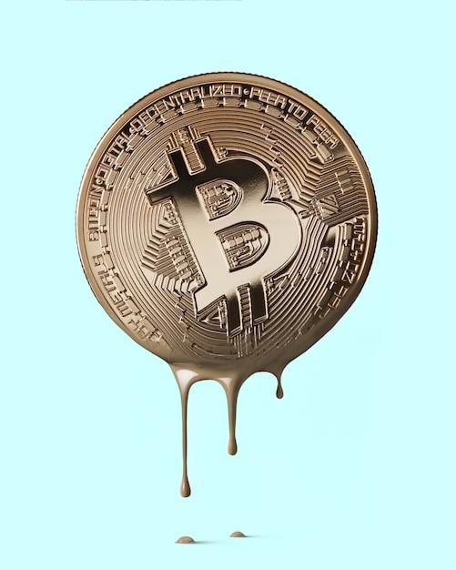 Physisches bitcoin schmilzt zu einer pfütze aus bronzemetall. kryptowährung. geschäfts- und handelskonzept. Premium Fotos