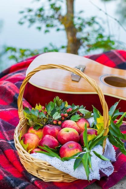 Picknick in der natur. picknick in der nähe des flusses. gitarre und rote äpfel im weidenkorb auf karierter decke nahe fluss. Premium Fotos