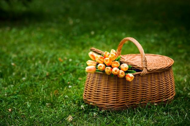 Picknickkorb mit einem tulpenblumenstrauß Kostenlose Fotos