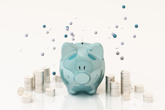 Pingelige bank und münze, um geld zu investieren, ideen, um geld für die zukünftige verwendung zu sparen. 3d-rendering Premium Fotos