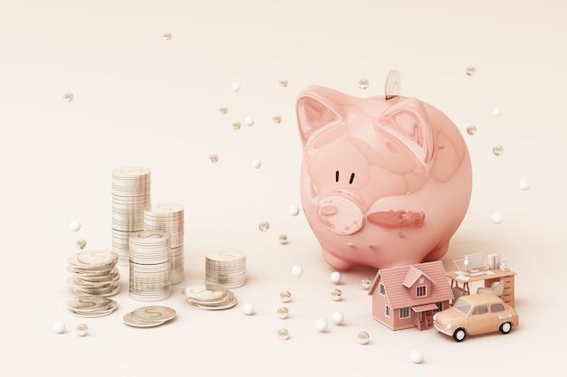 Pingelige bank und münze, um geld zu investieren, ideen, um geld für die zukünftige verwendung zu sparen. mit arbeitstisch und auto und haus. 3d-rendering Premium Fotos