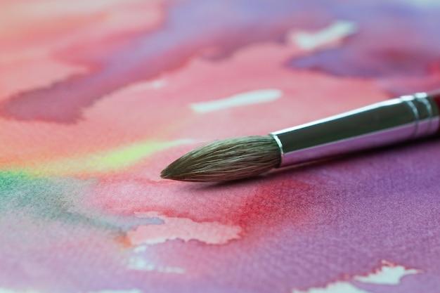 Pinsel malen pastellfarbe auf leinwand oder weißes papier Premium Fotos