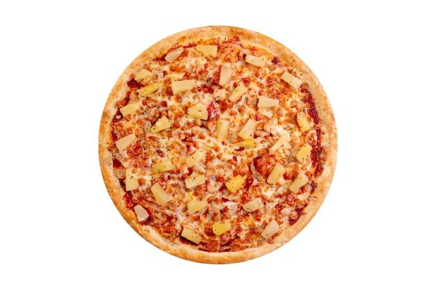 Pizza getrennt auf weißem hintergrund. heißes fast food Premium Fotos
