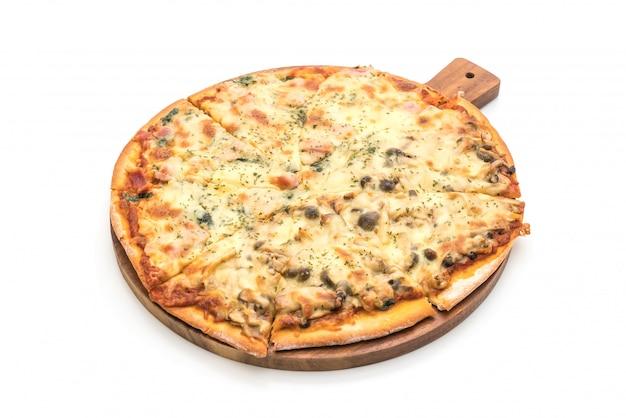 Pizza mit spinat und pilzen Premium Fotos