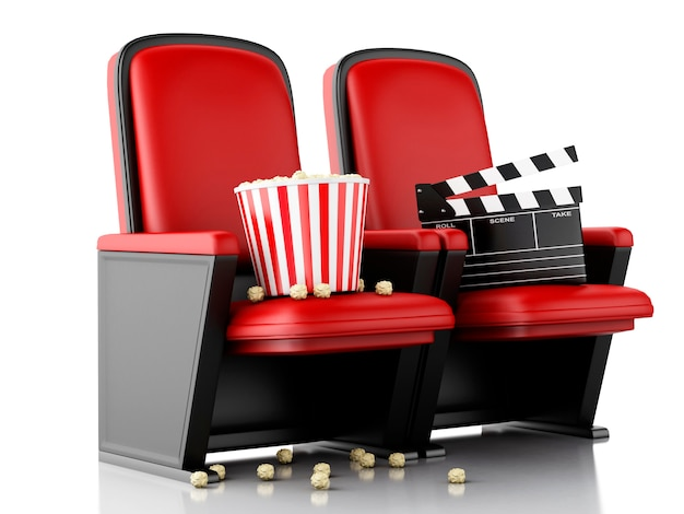 Plättchenbrett und popcorn des kinos 3d auf theatersitz. Premium Fotos