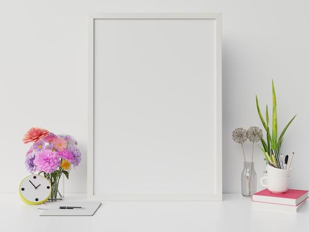 Plakatmodell mit vertikalem rahmen und recht / links haben buch, weißen wandhintergrund der blume, wiedergabe 3d Premium Fotos
