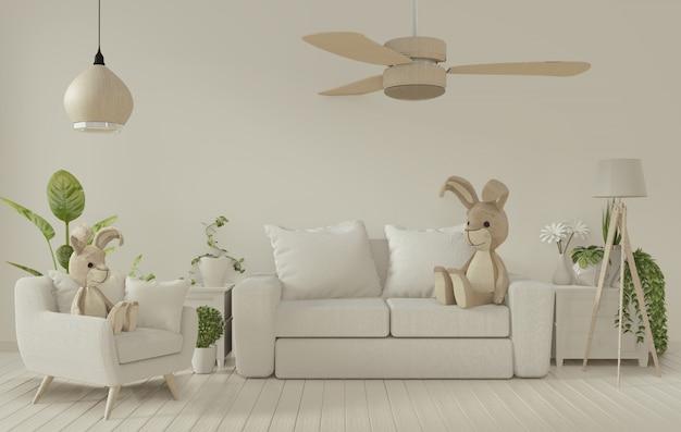 Plakatrahmen und weißes sofa auf weißem wohnzimmer interior.3d wiedergabe Premium Fotos