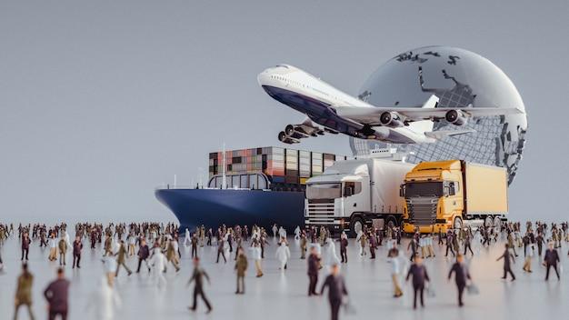 Plane trucks fliegen auf das ziel zu Premium Fotos