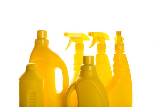 Plastikbehälter des reinigungsproduktes für das haus sauber Premium Fotos
