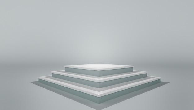 Podest podest podest. modell des weißen leeren stadiums des leeren schablonenplans Premium Fotos