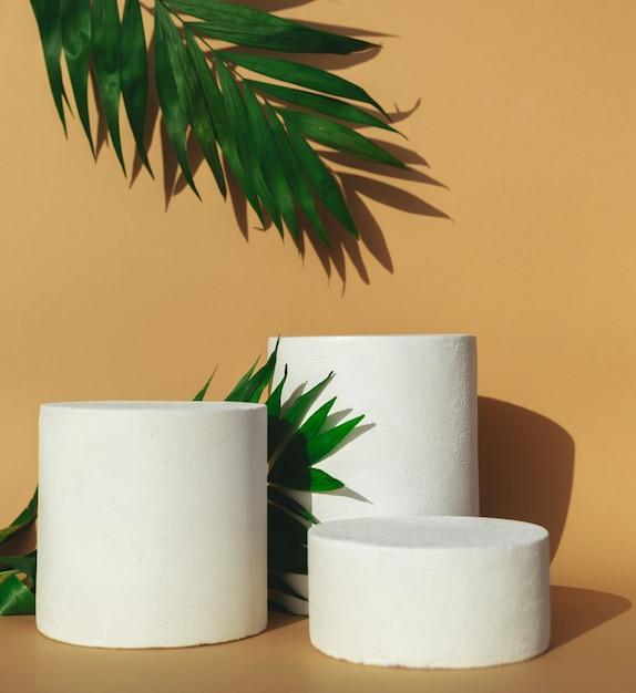 Podien mit grünen blättern und schatten auf beige Premium Fotos