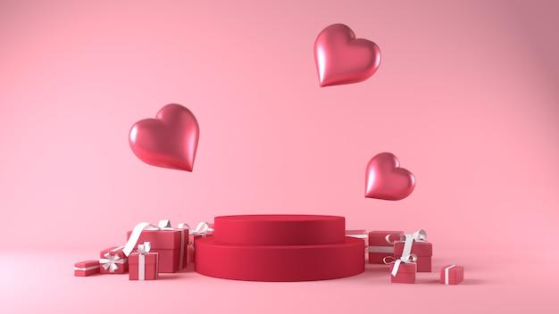Podium für produktplatzierung am valentinstag mit dekorationen Kostenlose Fotos