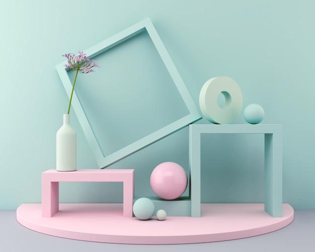 Podiumpastell der wiedergabe 3d minimale rosa farbwandszene, geometrischer formhintergrund. Premium Fotos