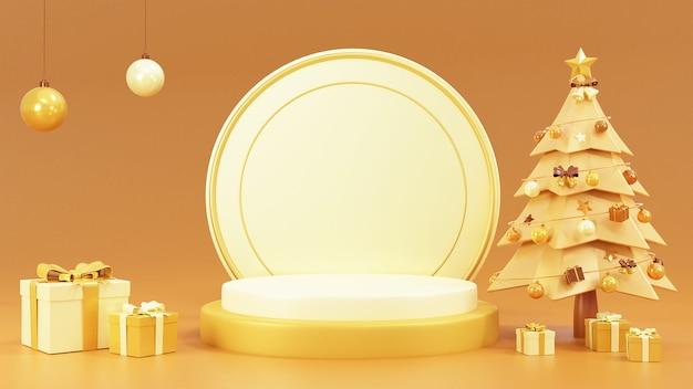 Podiumszene mit schneemann und geschenkboxen Premium Fotos