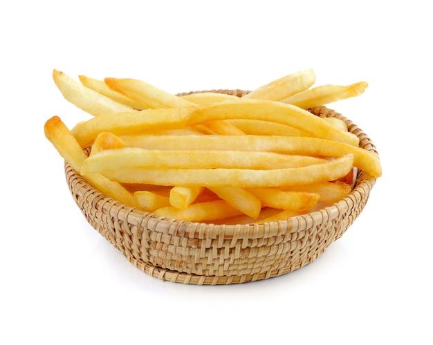 Pommes frites auf einem weißen Premium Fotos