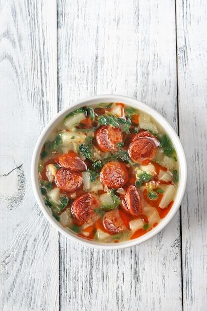 Portion caldo verde suppe Premium Fotos