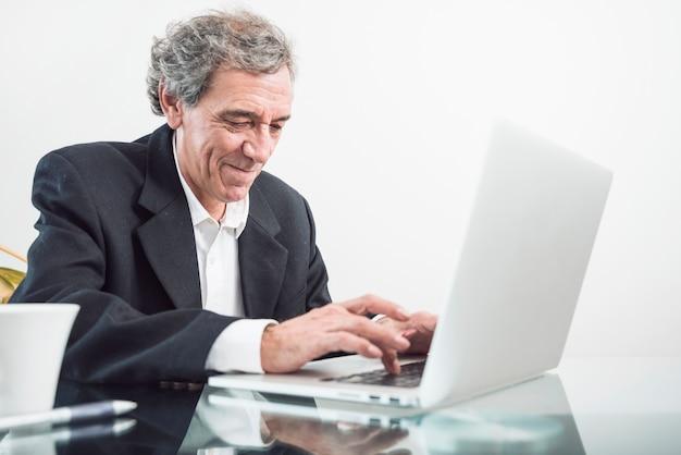 Porträt des älteren mannes schreibend auf laptop im büro Kostenlose Fotos