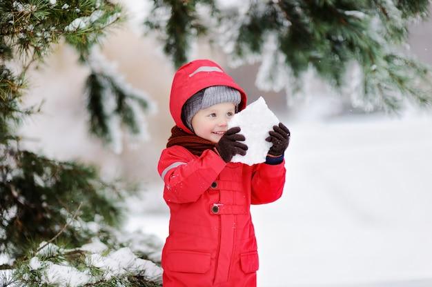 Porträt des kleinen lustigen jungen im roten winter kleidet das haben des spaßes mit stück eis. Premium Fotos