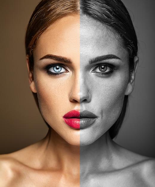 Porträt des schönen frauenmodells, vor und nach überarbeiten Kostenlose Fotos