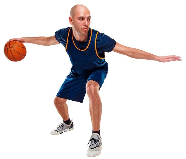 Porträt eines basketballspielers in voller länge mit ball Kostenlose Fotos