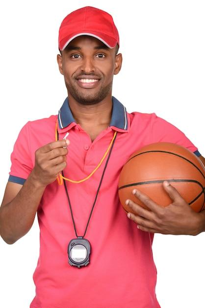 Porträt eines jungen basketballtrainers. Premium Fotos