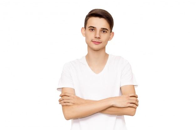 Porträt eines kerls in einem weißen t-shirt, isolat Premium Fotos