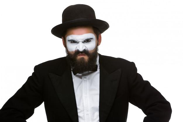 Porträt eines verächtlichen mannes im make-up pantomime Kostenlose Fotos