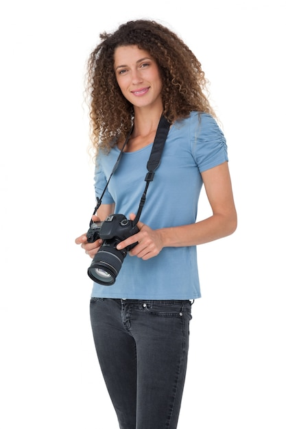 Portrait eines schönen weiblichen fotografen Premium Fotos