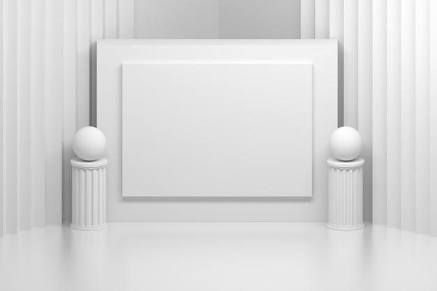 Präsentationstafel im weißen raum mit säulen Premium Fotos