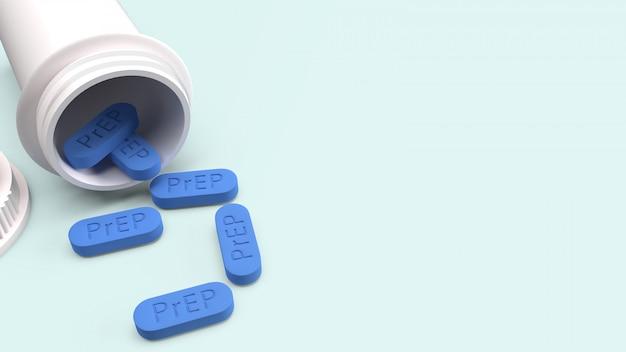 Prep ist eine hiv-präventionspille für die medizinische, 3d-rendering. Premium Fotos