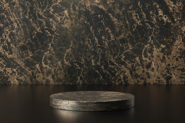 Produktanzeige aus schwarzem marmor. leeres podest für die präsentation. 3d-rendering. Premium Fotos