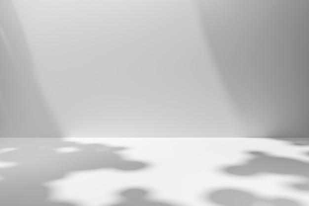 Produktanzeige der weißen szenenhintergründe auf einfachem hintergrund mit sonnigem schatten im leeren studio. leerer sockel oder podestplatz. 3d-rendering. Premium Fotos
