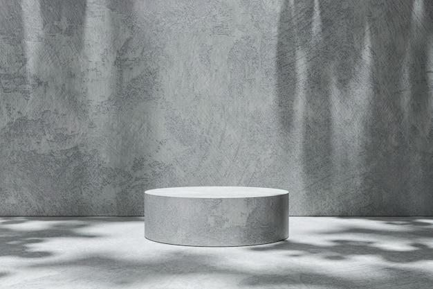 Produktanzeige des leeren raumszenenhintergrundes auf zementhintergrund mit sonnigem schatten im leeren studio. leerer sockel oder podestplatz. 3d-rendering. Premium Fotos