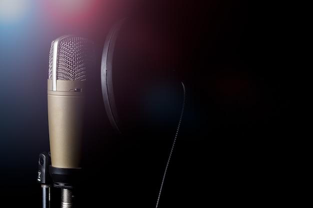 Professionelles kondensatormikrofon mit pop-filter Premium Fotos