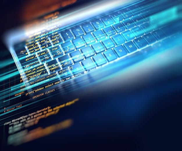 Programmiercode abstrakte technologie hintergrund Premium Fotos