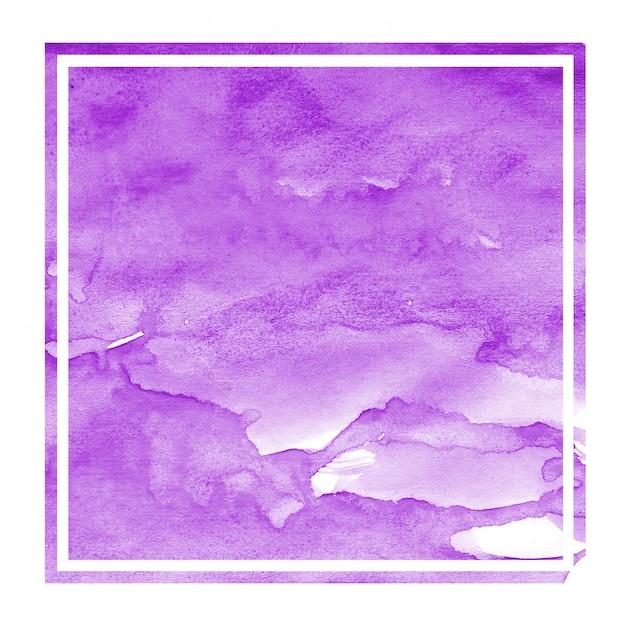 Purpurrote hand gezeichnete rechteckige rahmen-hintergrundbeschaffenheit des aquarells mit flecken Premium Fotos