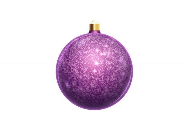 Purpurroter weihnachtsball lokalisiert auf weißem hintergrund. weihnachtsschmuck, ornamente auf dem weihnachtsbaum. Premium Fotos