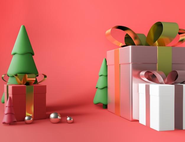 Quadratische geschenkbox des baums und metallisches rosa goldenes bogenband Premium Fotos