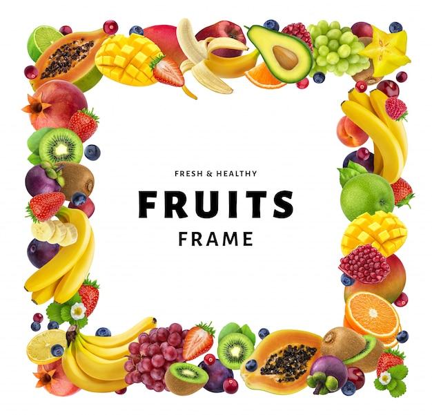 Quadratischer rahmen gemacht von den verschiedenen früchten lokalisiert auf weißem hintergrund Premium Fotos