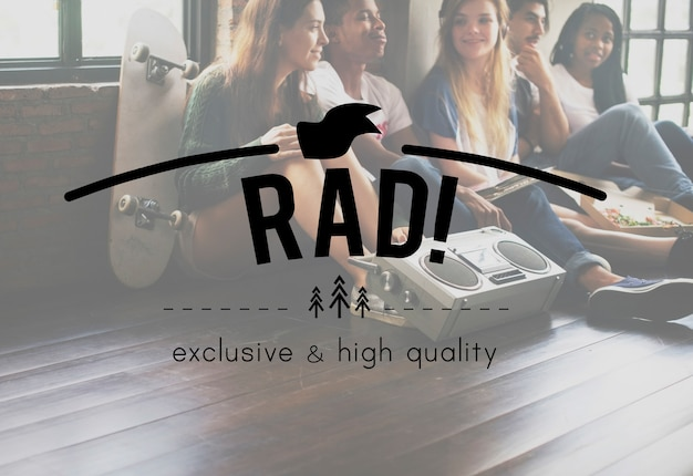 Rad! weinlese-vektor-grafik-konzept Kostenlose Fotos