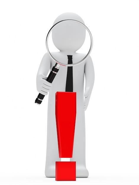 Rag doll mit einem riesigen lupe und einem roten ausrufezeichen-symbol Kostenlose Fotos