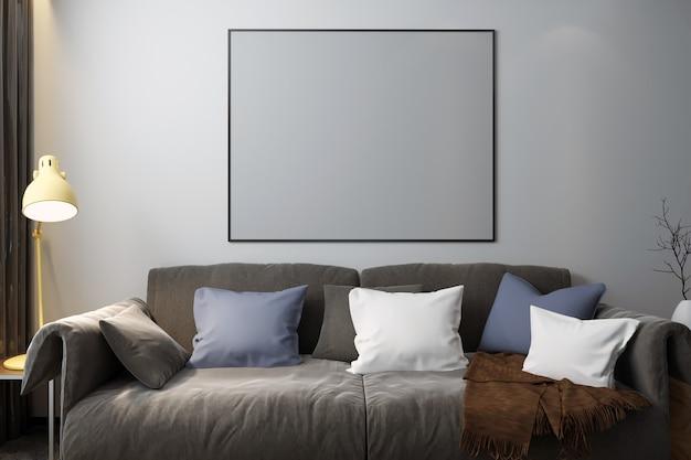 Rahmen-mock-up im schlafzimmer mit dekorationen Premium Fotos