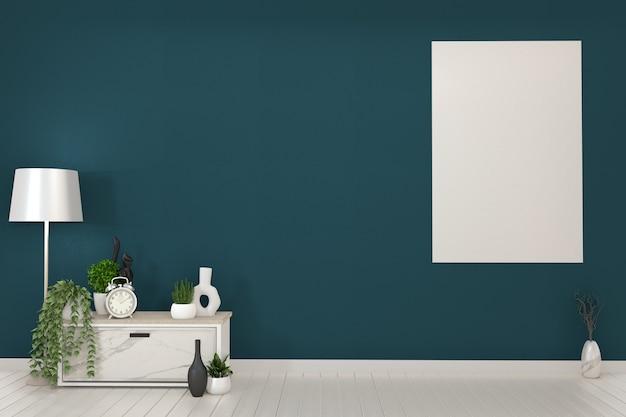 Rahmen und weiße kabinette fernsehapparat in einem dunkelgrünen raum und in einer decoration.3d wiedergabe Premium Fotos