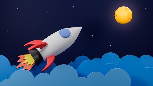 Rakete, die über wolke fliegt, gehen zum mond auf galaxienhintergrund. geschäftsstartkonzept.3d modell und illustration. Premium Fotos