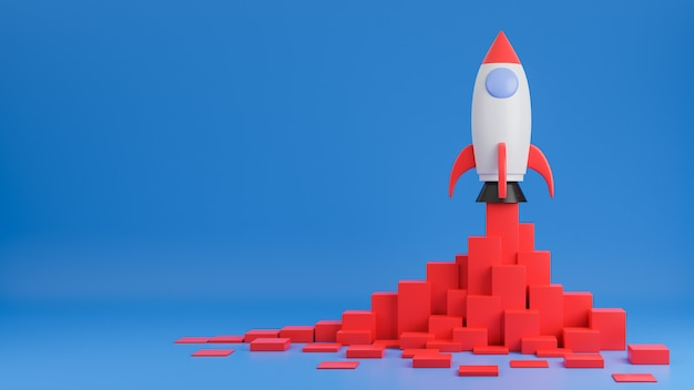 Raketenschiff fliegt mit finanzdiagramm auf blauem hintergrund hoch. geschäftsstartkonzept. 3d-modell und illustration. Premium Fotos