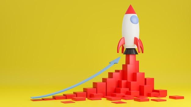 Raketenschiff fliegt mit finanzdiagramm auf gelbem hintergrund hoch. geschäftsstartkonzept. 3d-modell und illustration. Premium Fotos