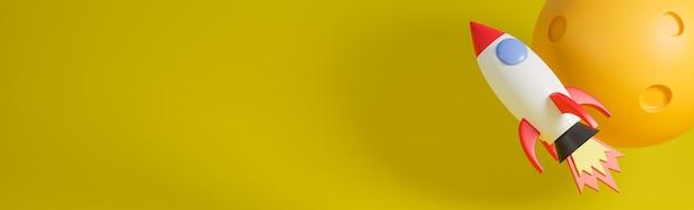 Raketenschiff fliegt mit mond auf gelbem hintergrund. geschäftsstartkonzept.3d modell und illustration. Premium Fotos