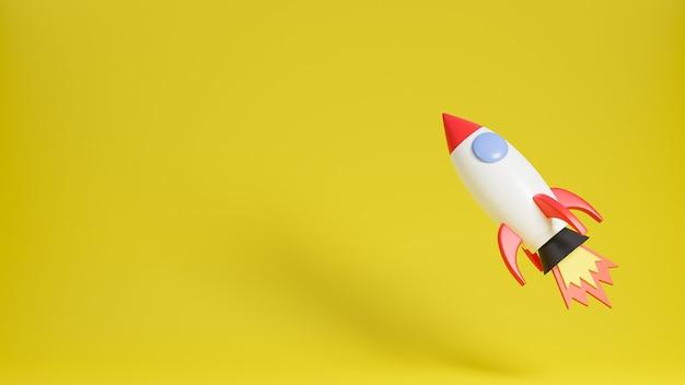Raketenschiff fliegt oben auf gelbem hintergrund. geschäftsstartkonzept.3d modell und illustration. Premium Fotos