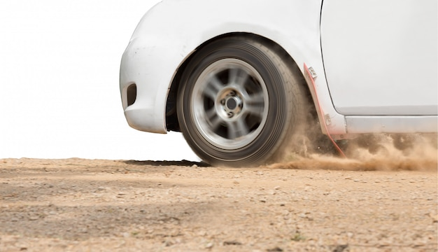 Rallye-wagengeschwindigkeit auf unbefestigter straße Premium Fotos
